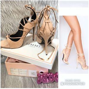🦄 Simmi London Harper Suede Lace Up Stilettos ~ 8